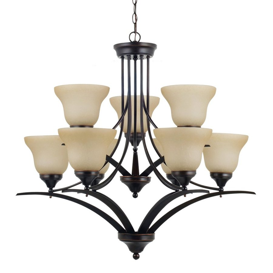 Sea Gull Lighting Brockton 33-in 9-Light Burnt sienna Tinted Glass Tiered Chandelier