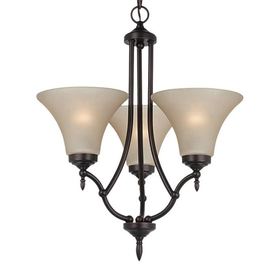 Sea Gull Lighting Montreal 18.5-in 3-Light Burnt Sienna Tinted Glass Shaded Chandelier