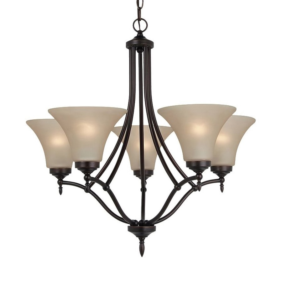 Sea Gull Lighting Montreal 25.69-in 5-Light Burnt sienna Tinted Glass Shaded Chandelier