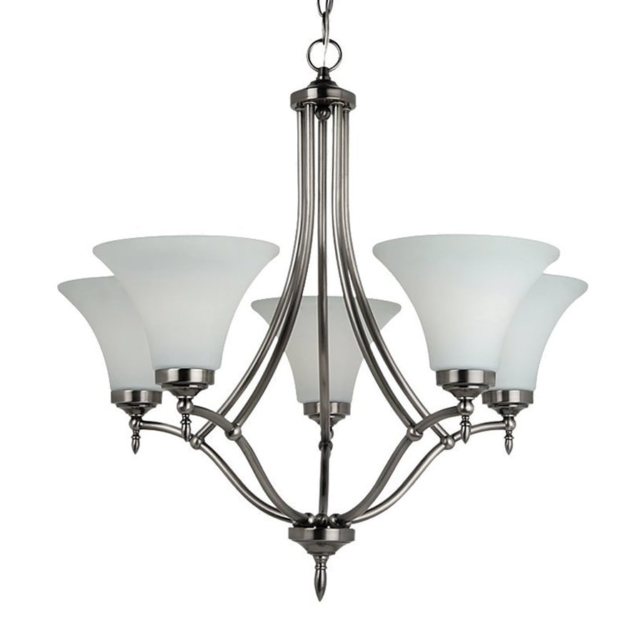 Sea Gull Lighting Montreal 25.69-in 5-Light Antique Brushed Nickel Etched Glass Shaded Chandelier