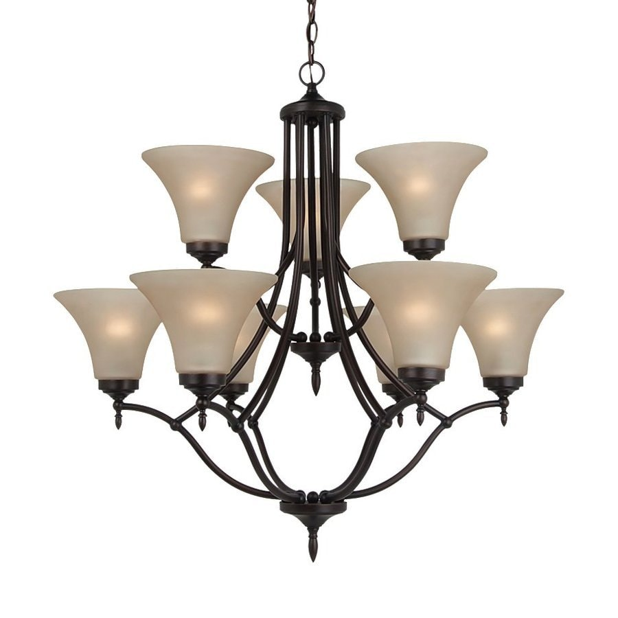 Sea Gull Lighting Montreal 30.37-in 9-Light Burnt sienna Etched Glass Tiered Chandelier