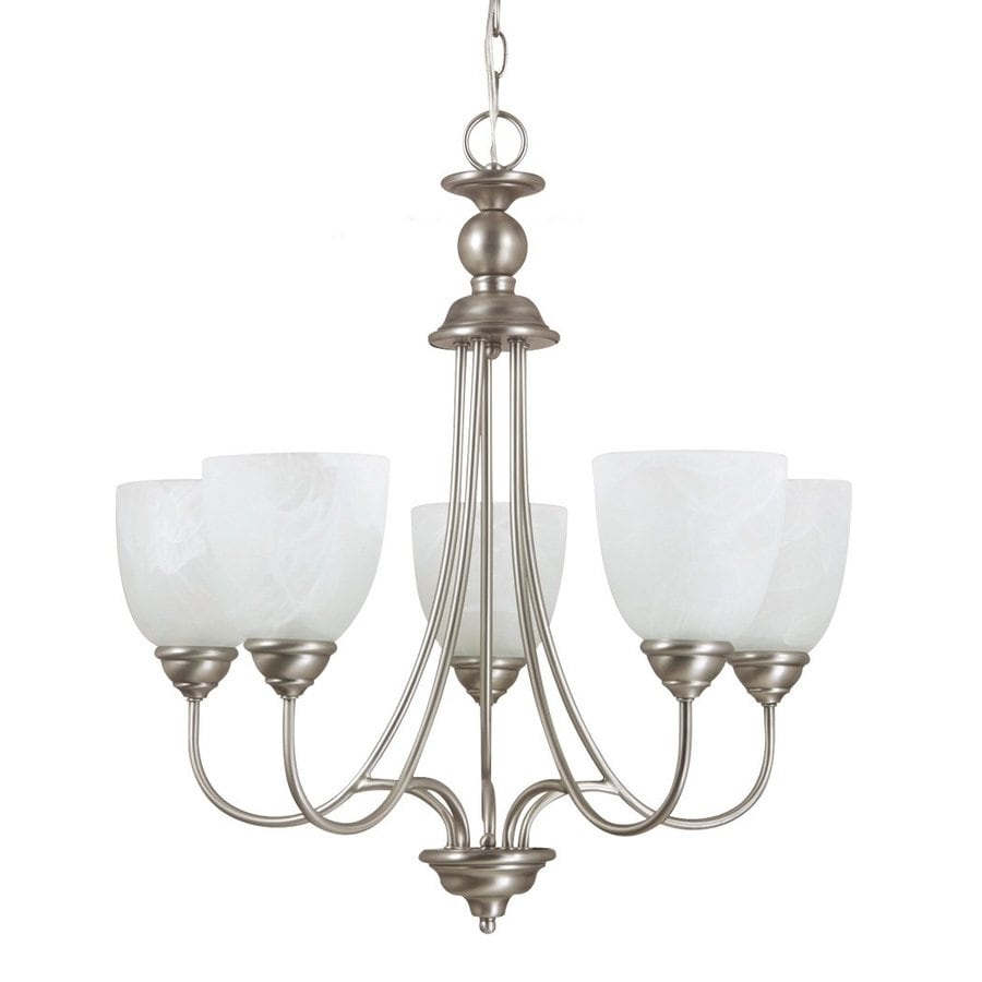 Sea Gull Lighting Lemont 23-in 5-Light Antique brushed nickel Country Cottage Alabaster Glass Shaded Chandelier