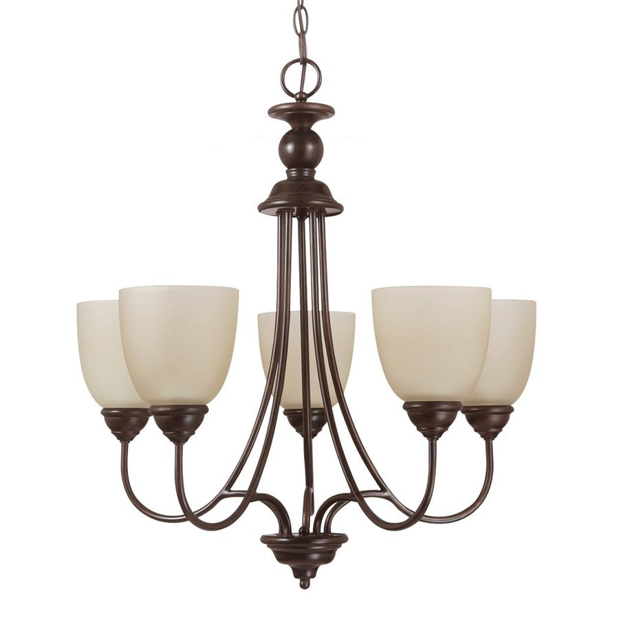 Sea Gull Lighting Lemont 23-in 5-Light Burnt Sienna Country Cottage Tinted Glass Shaded Chandelier