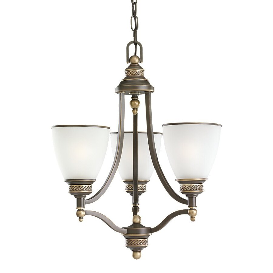 Sea Gull Lighting Laurel Leaf 17.5-in 3-Light Estate Bronze Country Cottage Etched Glass Shaded Chandelier