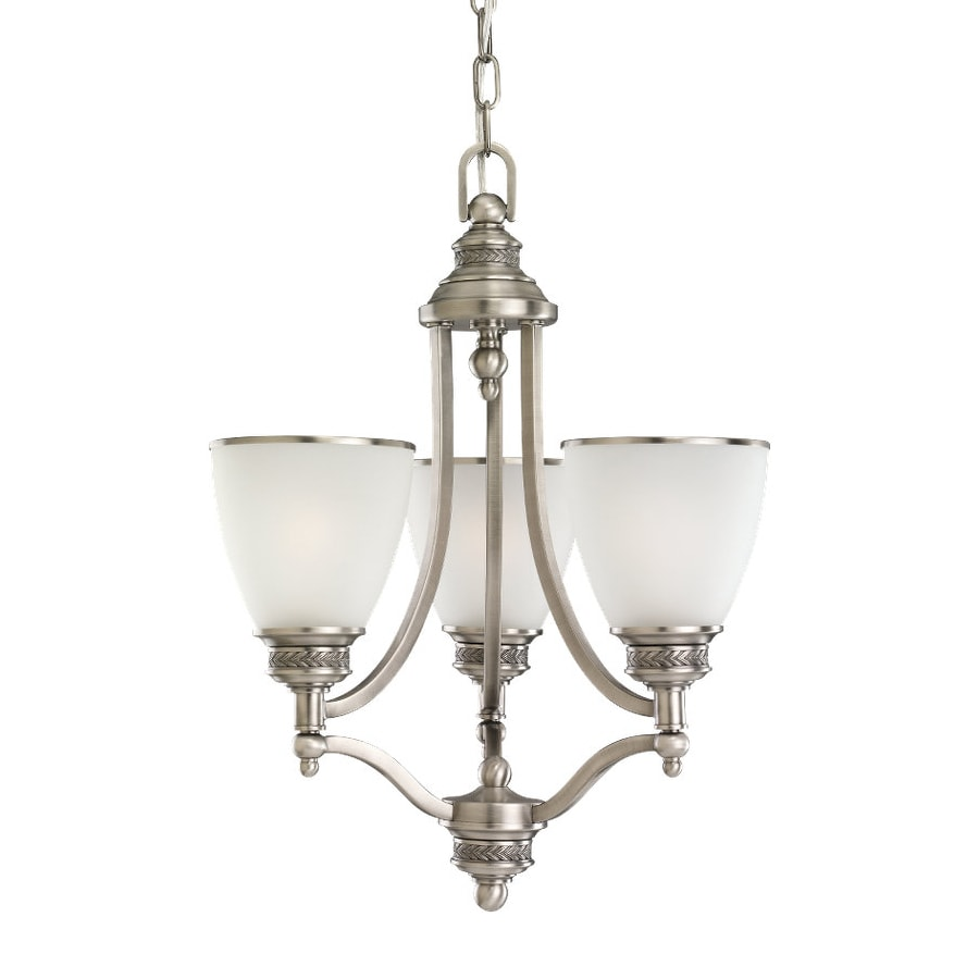 Sea Gull Lighting Laurel Leaf 17.5-in 3-Light Antique Brushed Nickel Country Cottage Etched Glass Shaded Chandelier