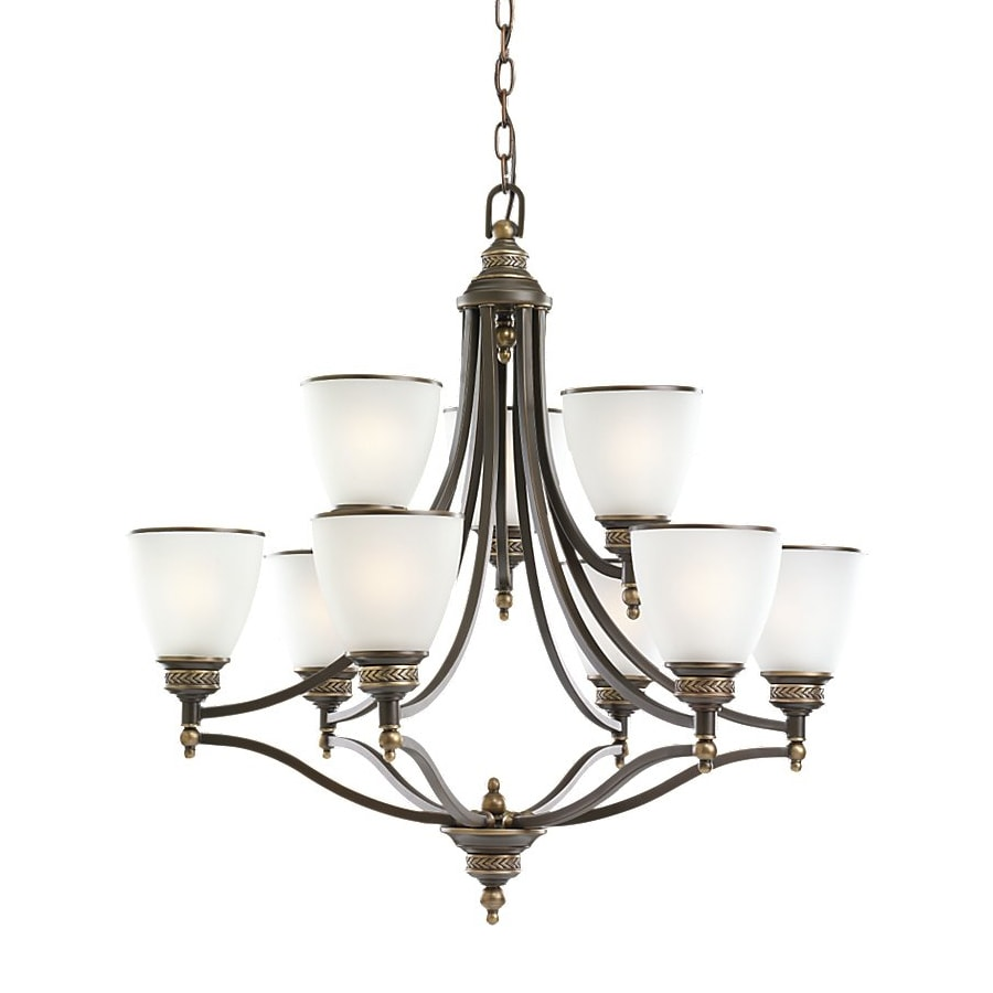 Sea Gull Lighting Laurel Leaf 29.5-in 9-Light Estate bronze Country Cottage Etched Glass Tiered Chandelier