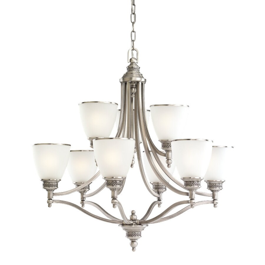 Sea Gull Lighting Laurel Leaf 29.5-in 9-Light Antique Brushed Nickel Country Cottage Etched Glass Tiered Chandelier