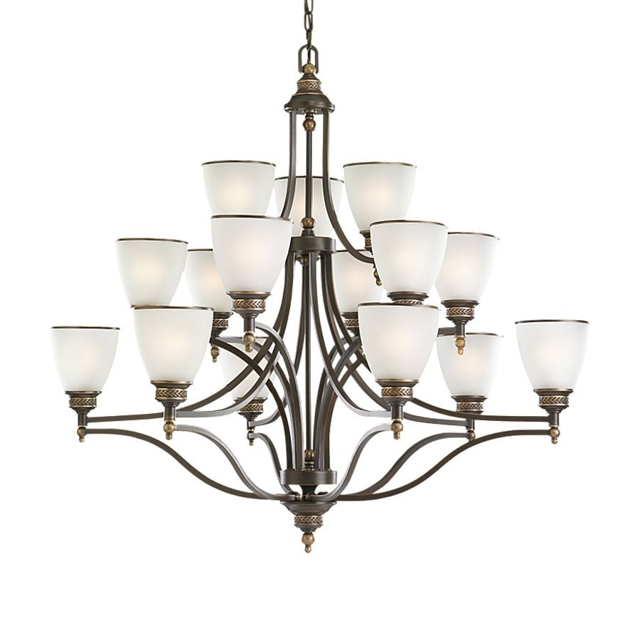 Sea Gull Lighting Laurel Leaf 41.75-in 15-Light Estate Bronze Country Cottage Etched Glass Tiered Chandelier