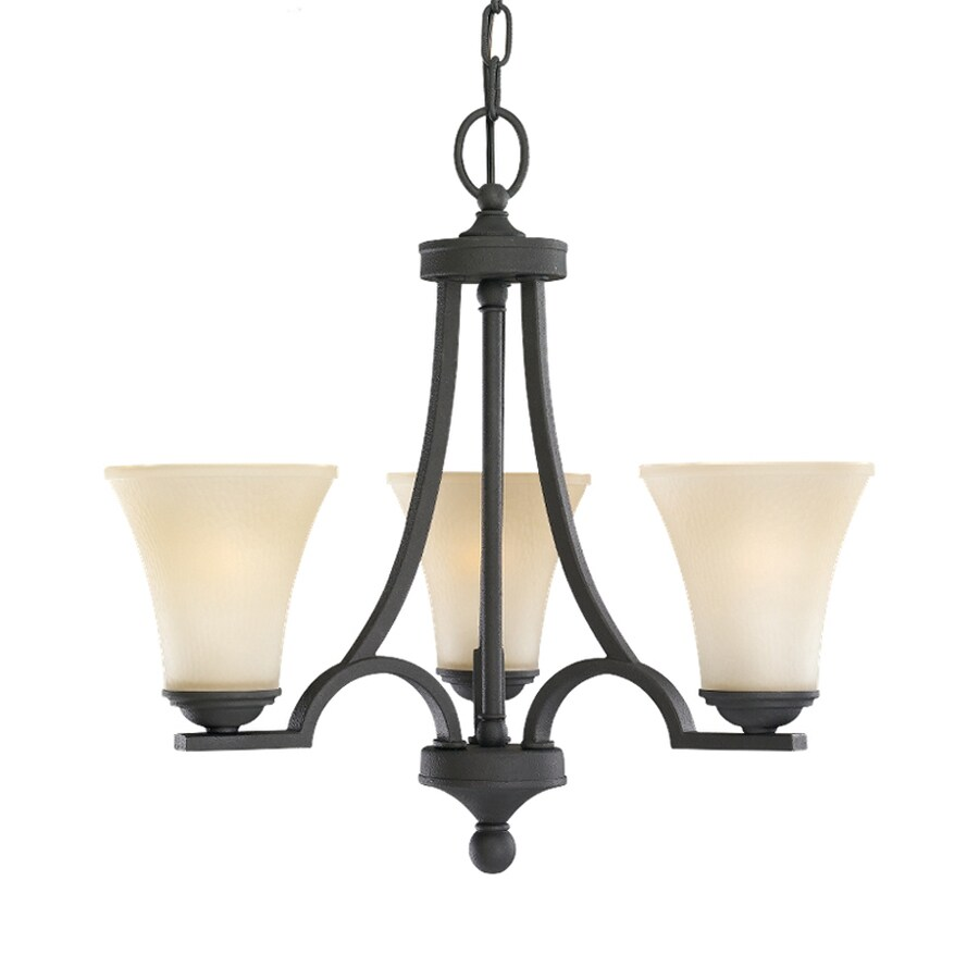 Sea Gull Lighting Somerton 20-in 3-Light Blacksmith Tinted Glass Shaded Chandelier
