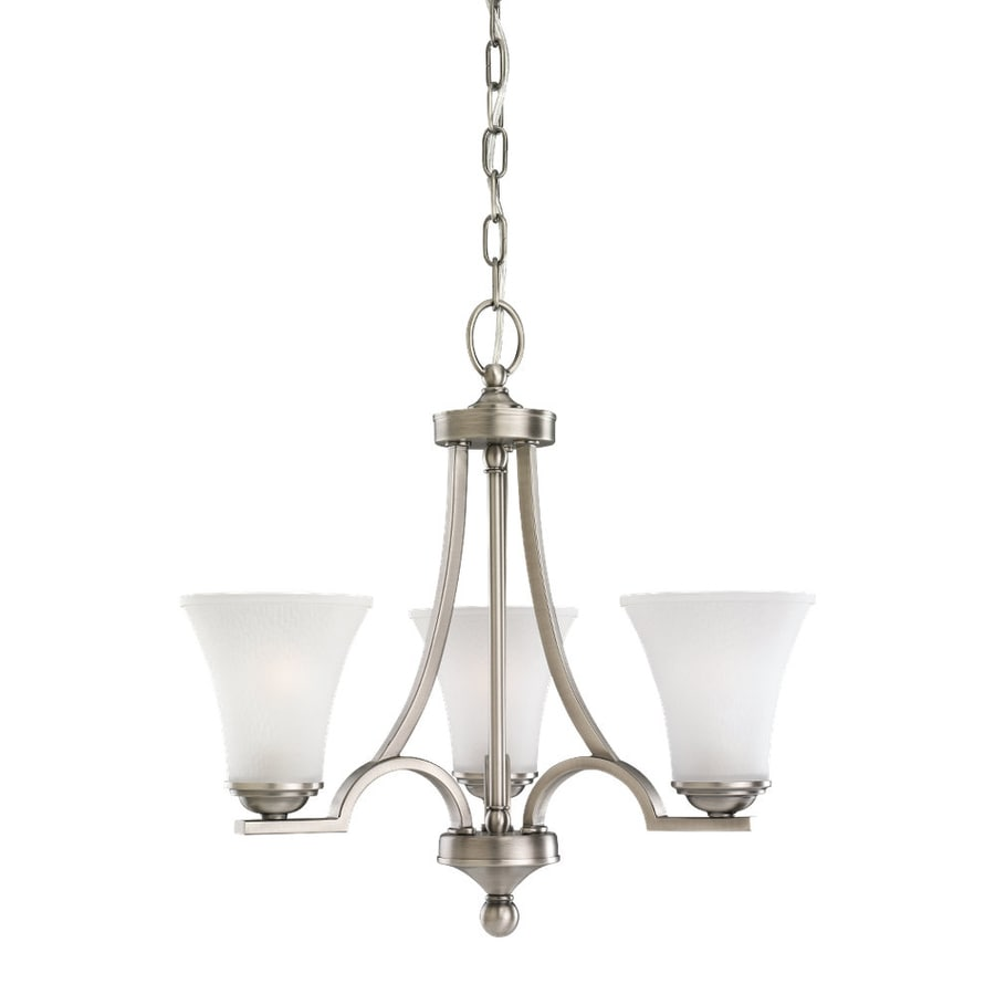 Sea Gull Lighting Somerton 20-in 3-Light Antique Brushed Nickel Etched Glass Shaded Chandelier