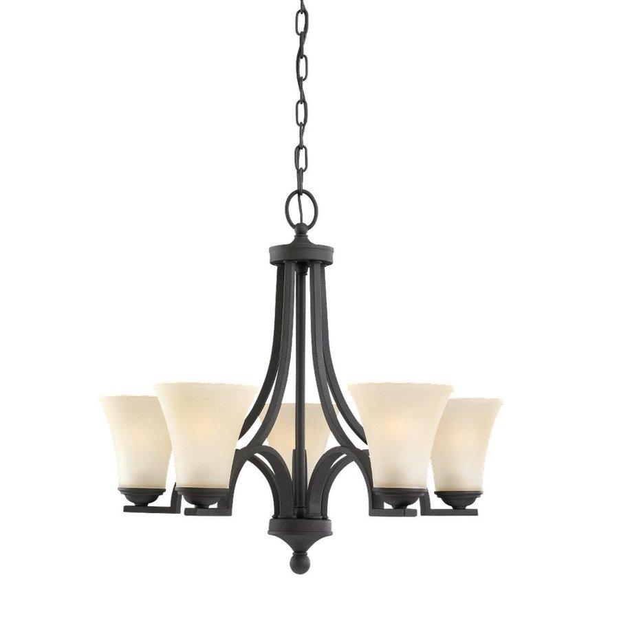 Sea Gull Lighting Somerton 24.75-in 5-Light Blacksmith Tinted Glass Shaded Chandelier