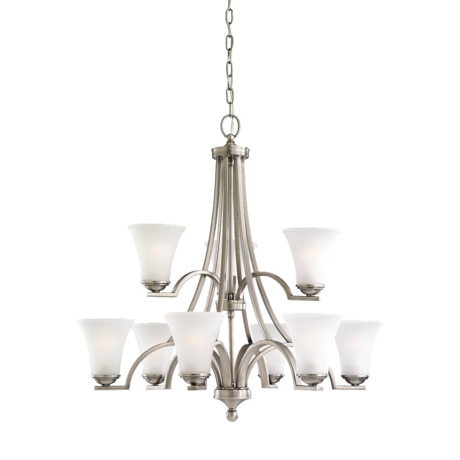 Sea Gull Lighting Somerton 29.5-in 9-Light Antique Brushed Nickel Etched Glass Tiered Chandelier