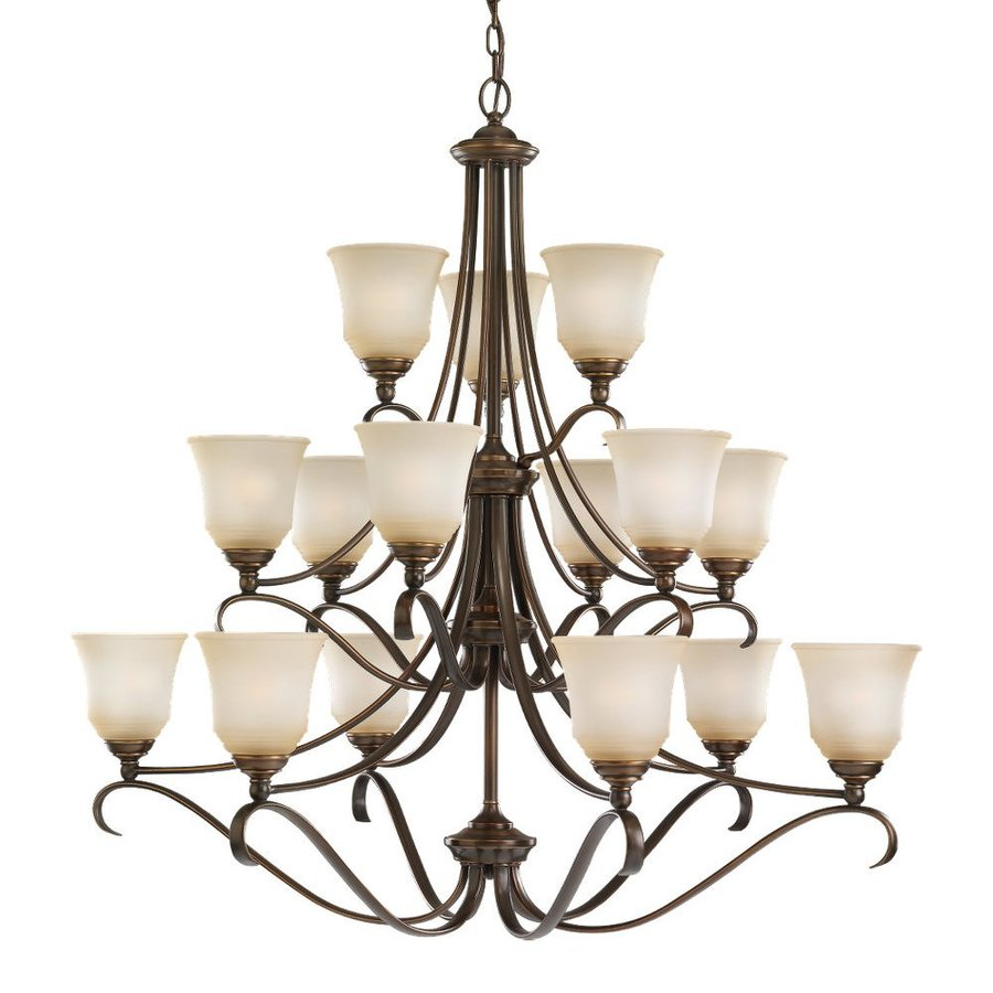 Sea Gull Lighting Parkview 43.25-in 15-Light Russet Bronze Country Cottage Tinted Glass Tiered Chandelier