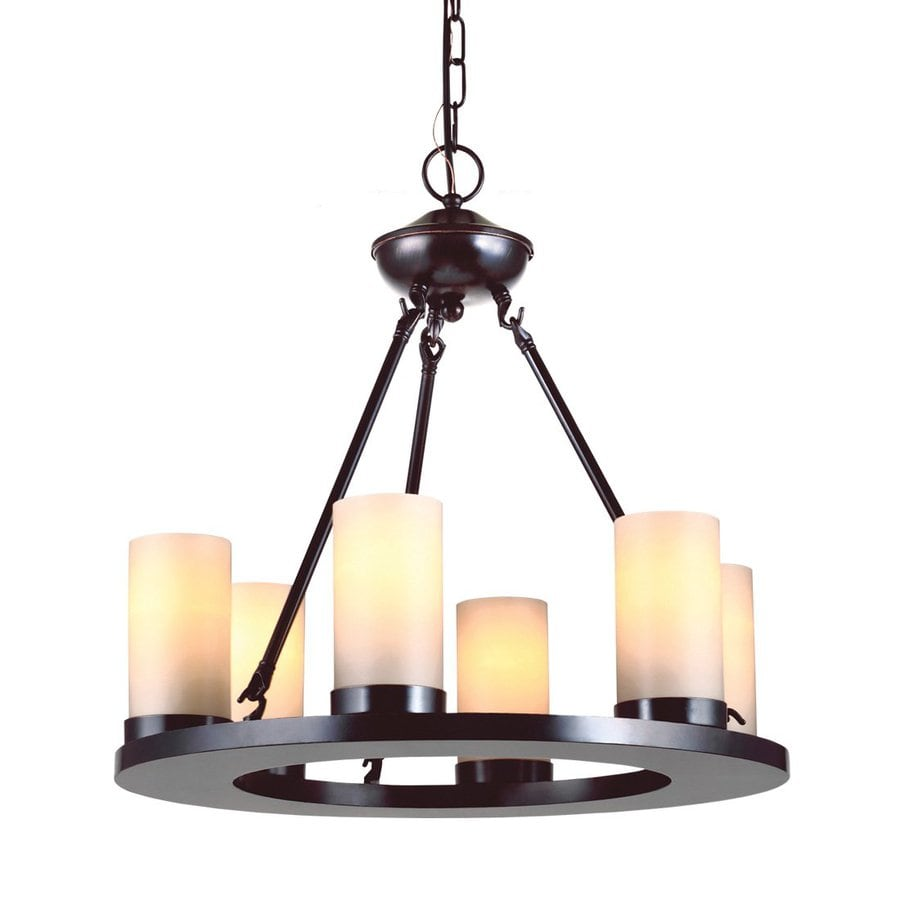 Sea Gull Lighting Ellington 21-in 6-Light Burnt Sienna Rustic Tinted Glass Candle Chandelier