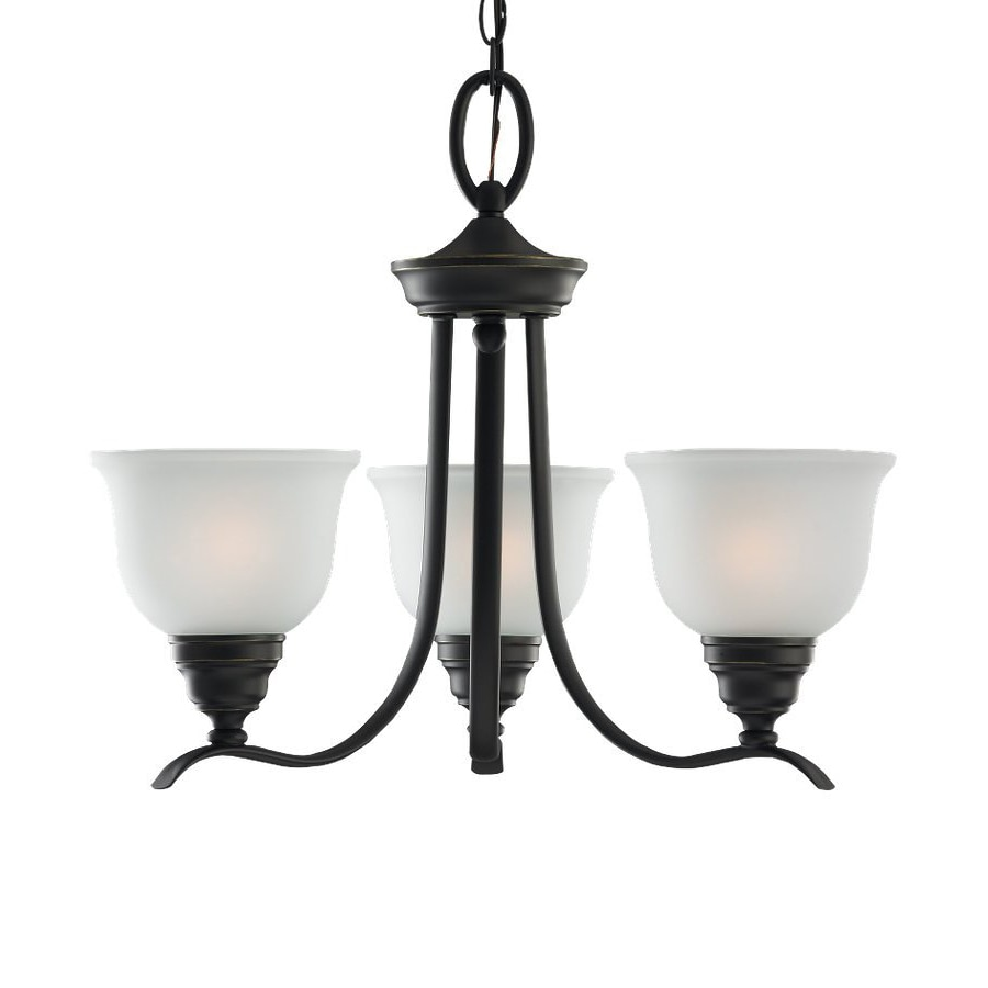Sea Gull Lighting Wheaton 22-in 3-Light Heirloom Bronze Country Cottage Etched Glass Shaded Chandelier