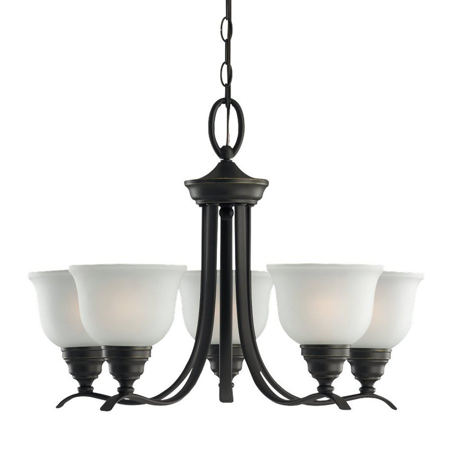 Sea Gull Lighting Wheaton 24-in 5-Light Heirloom Bronze Country Cottage Etched Glass Shaded Chandelier