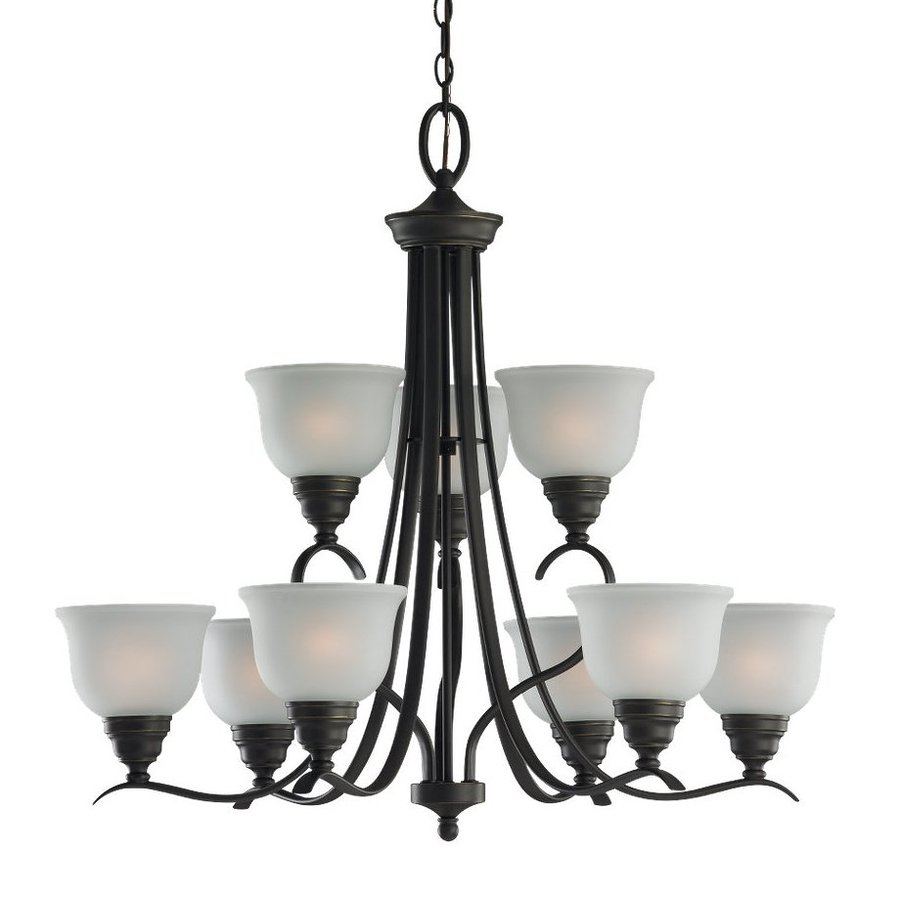 Sea Gull Lighting Wheaton 30.81-in 9-Light Heirloom Bronze Country Cottage Etched Glass Tiered Chandelier