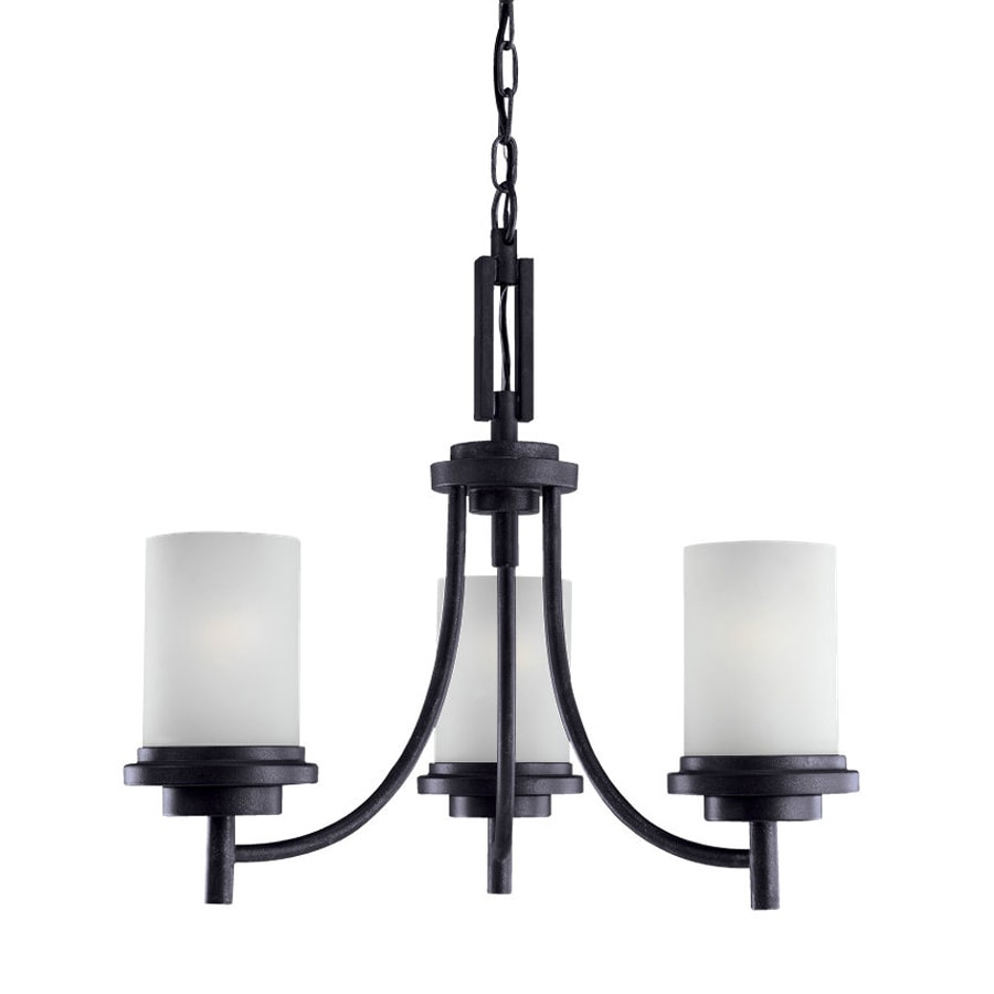Sea Gull Lighting Winnetka 21-in 3-Light Blacksmith Craftsman Etched Glass Shaded Chandelier