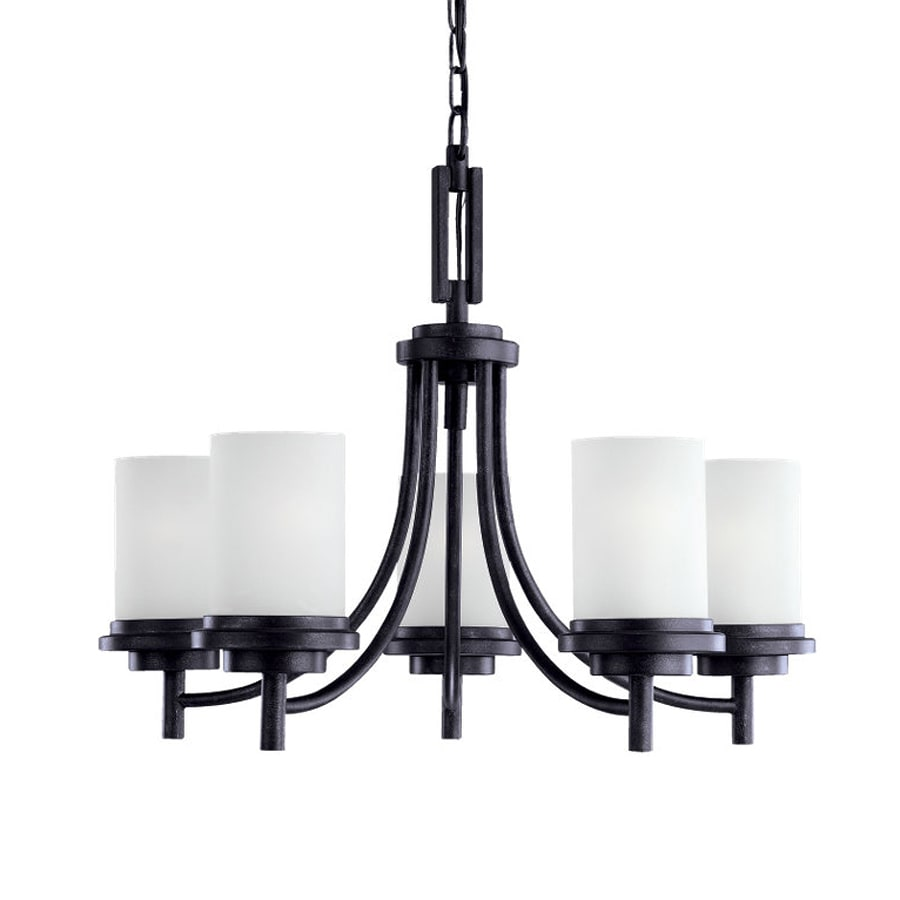 Sea Gull Lighting Winnetka 25-in 5-Light Blacksmith Craftsman Etched Glass Shaded Chandelier