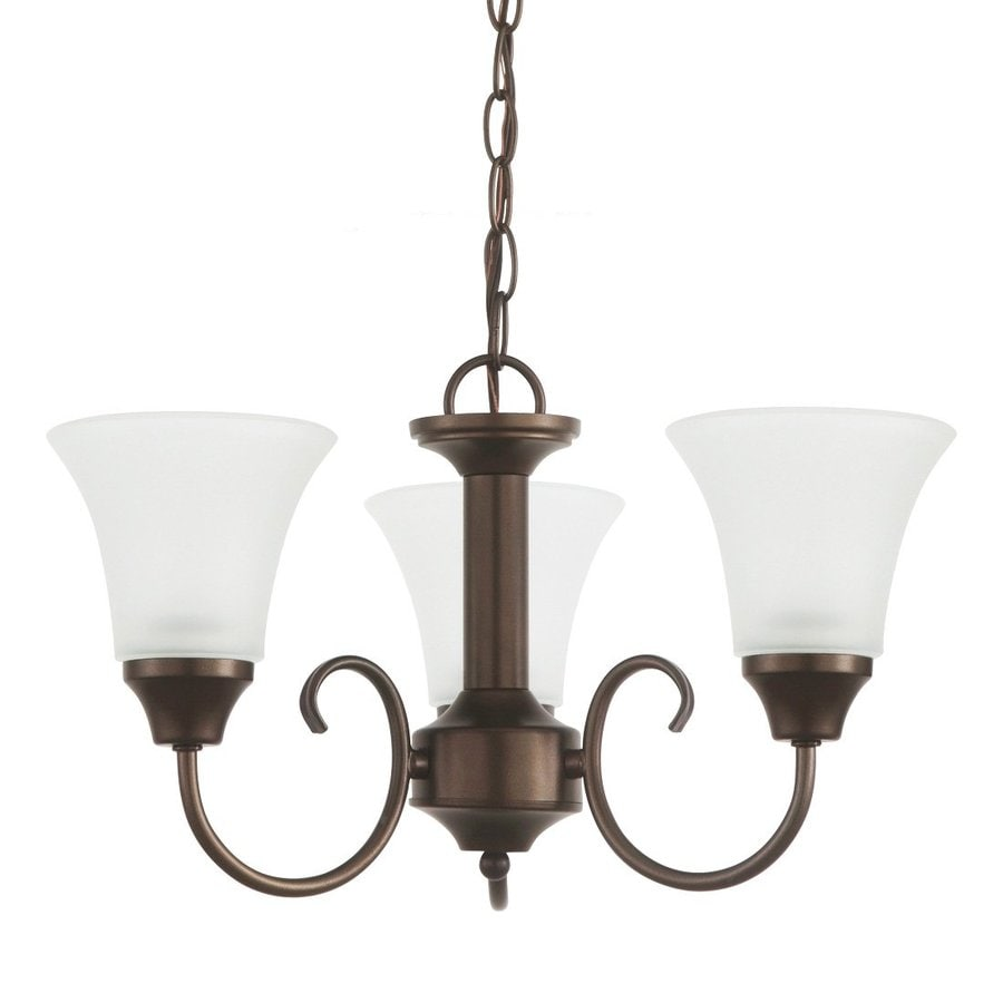 Sea Gull Lighting Holman 18-in 3-Light Bell Metal Bronze Etched Glass Shaded Chandelier