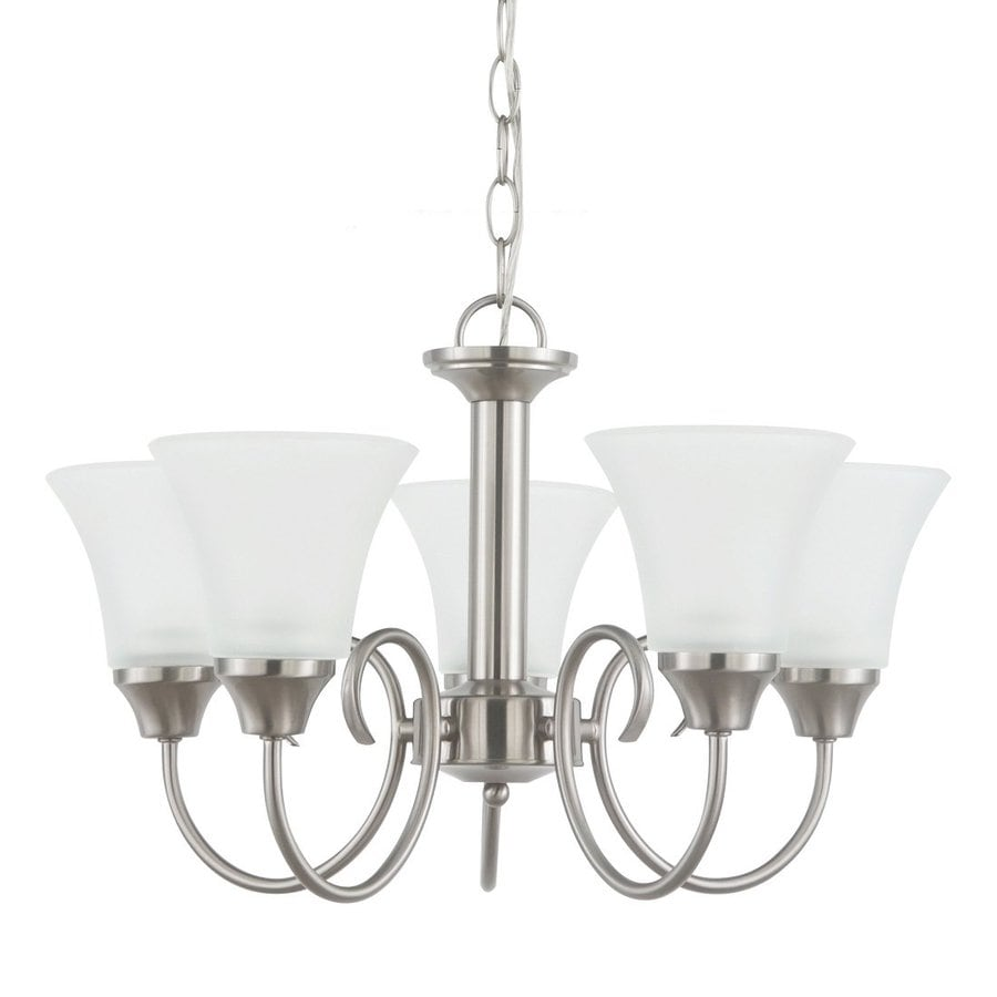 Sea Gull Lighting Holman 20-in 5-Light Brushed nickel Country Cottage Etched Glass Shaded Chandelier