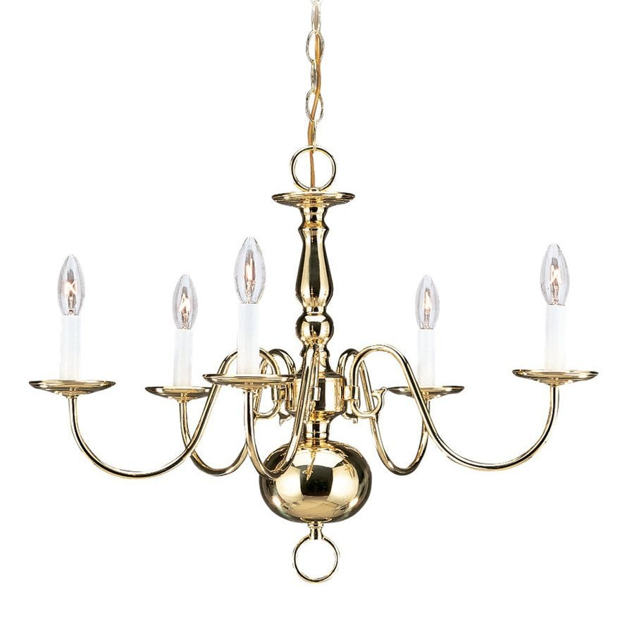 Sea Gull Lighting Traditional 23.5-in 5-Light Polished Brass Vintage Candle Chandelier