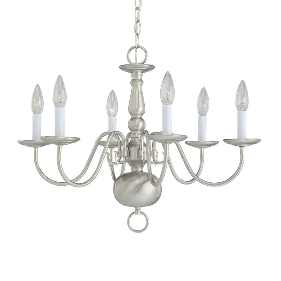 Shop Sea Gull Lighting Traditional 23 5 In 6 Light Brushed Nickel Vintage Candle Chandelier At