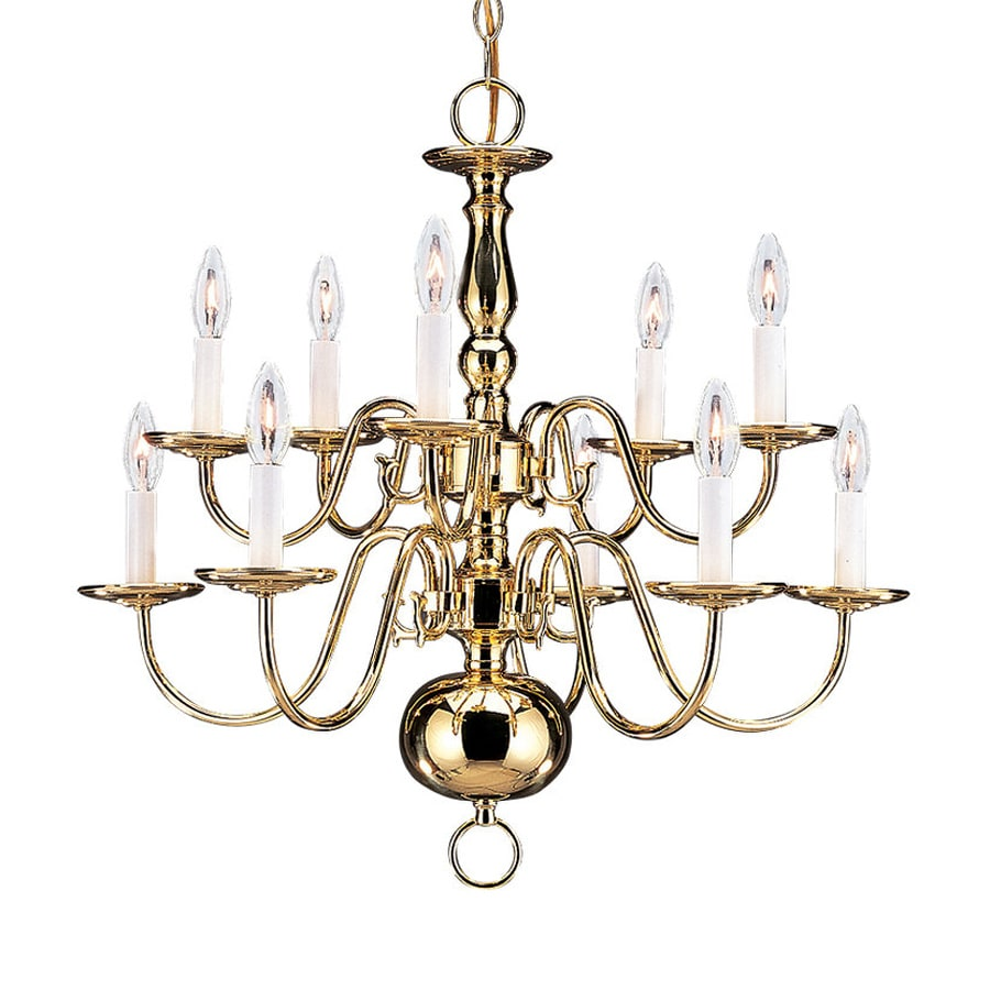 Sea Gull Lighting Traditional 23.5-in 10-Light Polished brass Vintage Candle Chandelier