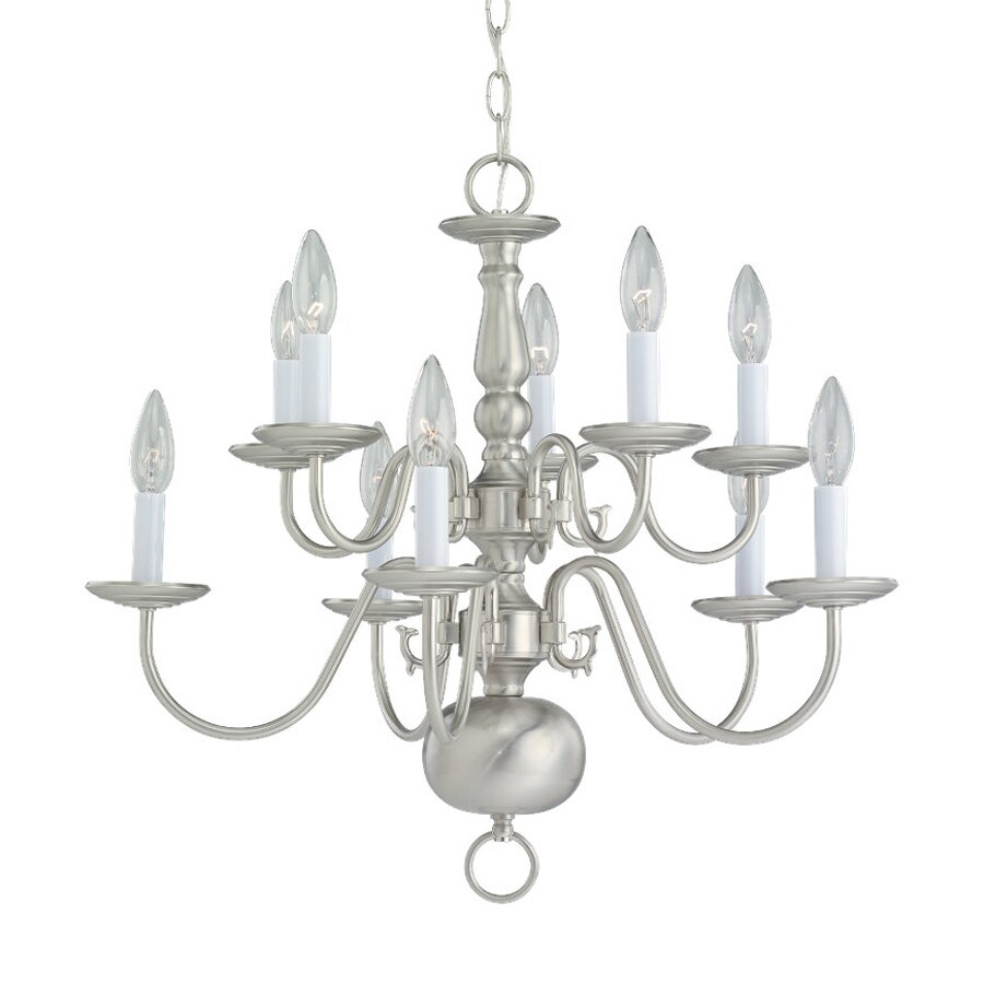 Sea Gull Lighting Traditional 23.5-in 10-Light Brushed Nickel Vintage Candle Chandelier
