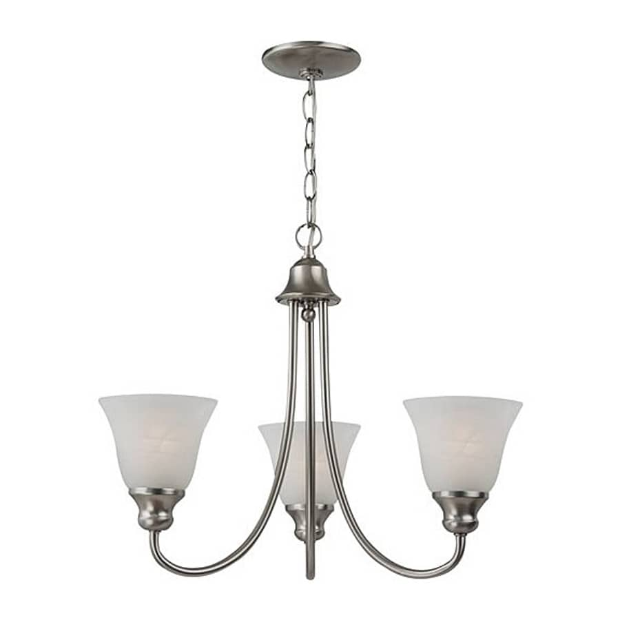 Sea Gull Lighting Windgate 20.25-in 3-Light Brushed Nickel Country Cottage Shaded Chandelier