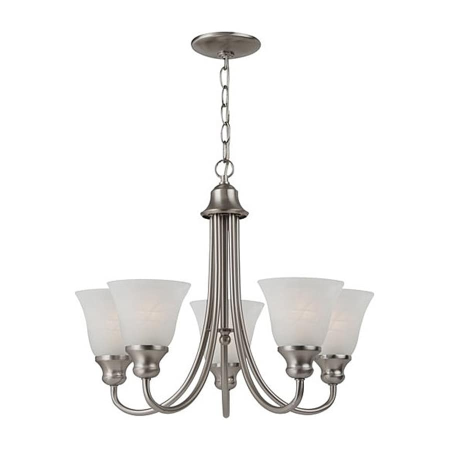Sea Gull Lighting Windgate 20.25-in 5-Light Brushed Nickel Country Cottage Shaded Chandelier