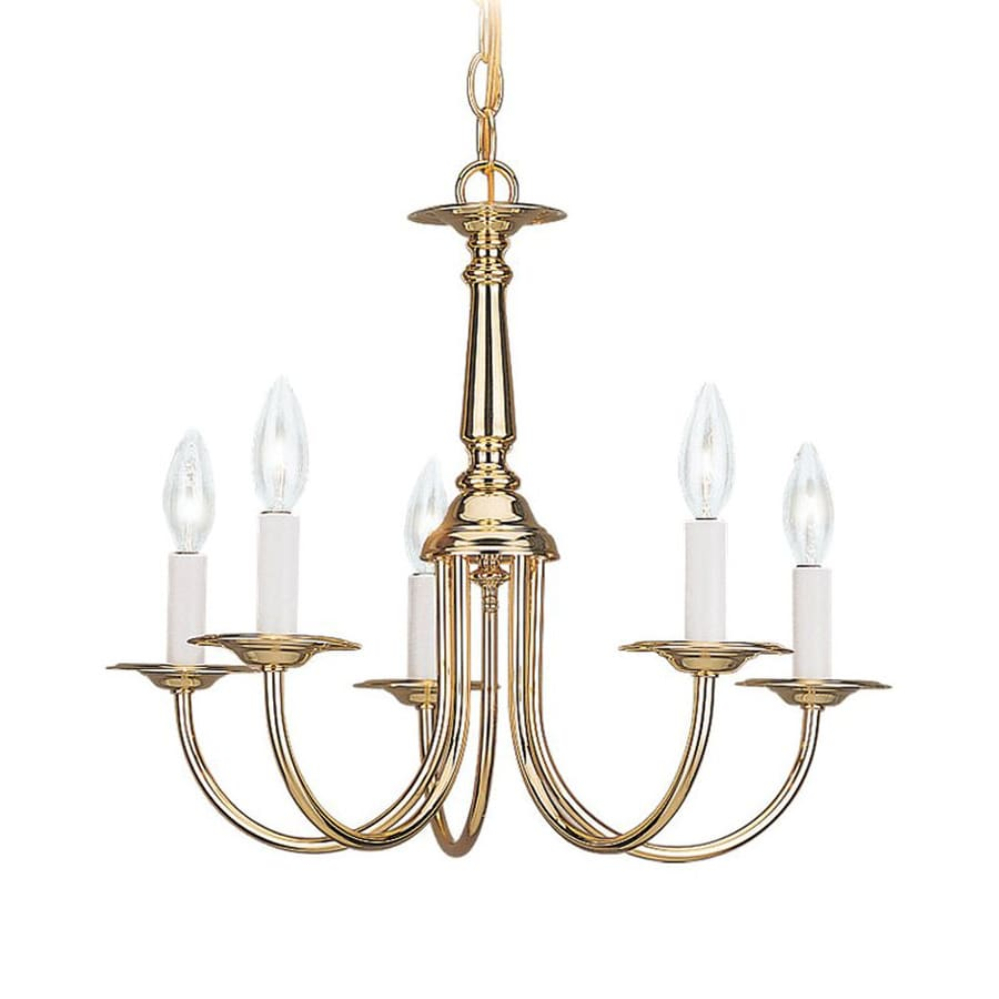 Sea Gull Lighting Traditional 18.5-in 5-Light Polished Brass Vintage Candle Chandelier