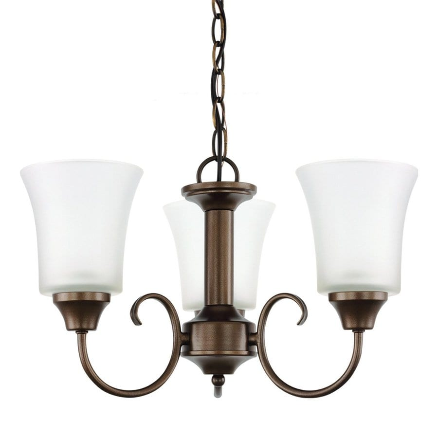 Sea Gull Lighting Holman 17.75-in 3-Light Bell Metal Bronze Vintage Etched Glass Shaded Chandelier