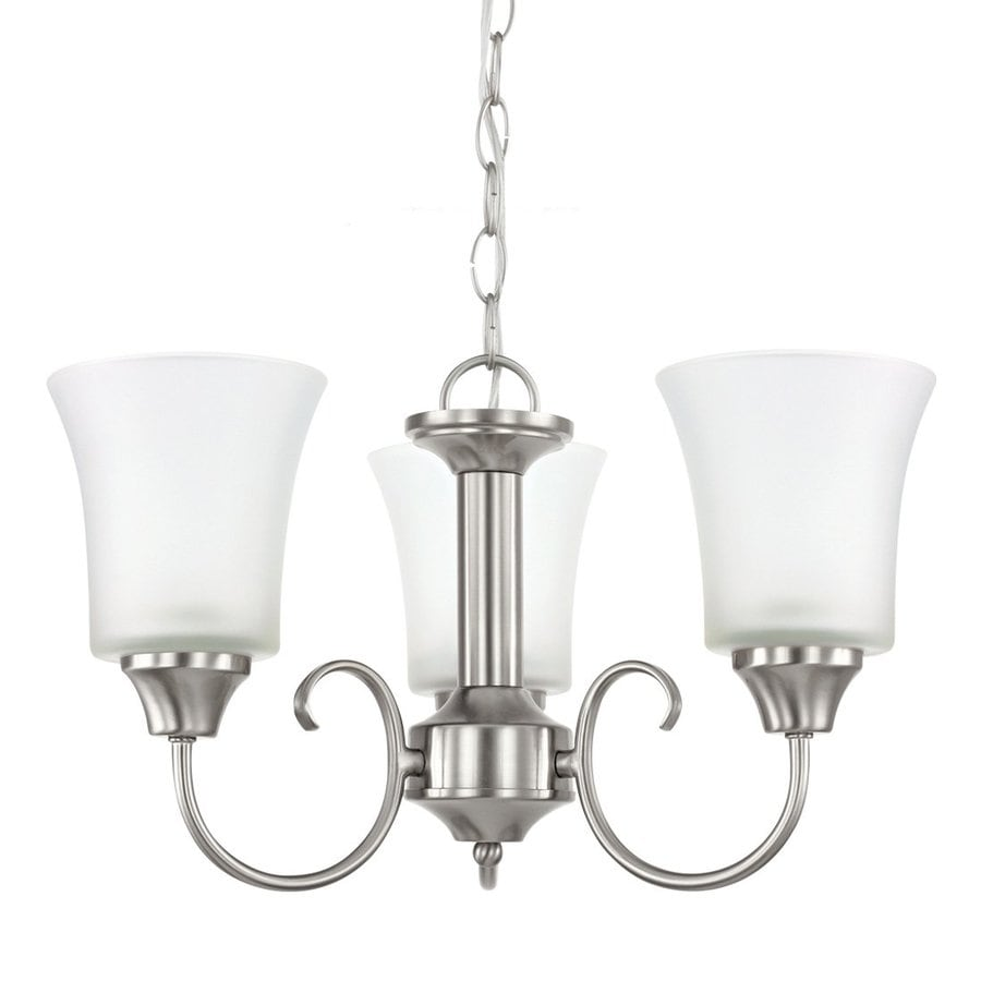 Sea Gull Lighting Holman 17.75-in 3-Light Brushed Nickel Vintage Etched Glass Shaded Chandelier