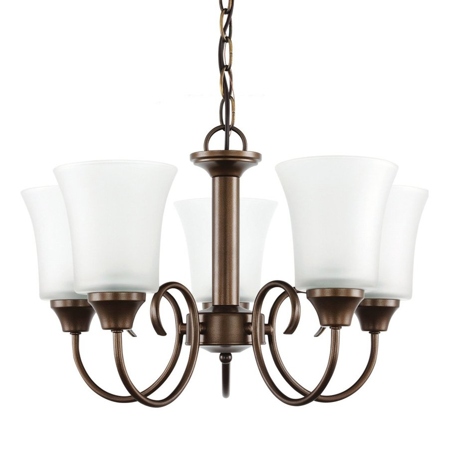 Sea Gull Lighting Holman 19.75-in 5-Light Bell Metal Bronze Vintage Etched Glass Shaded Chandelier