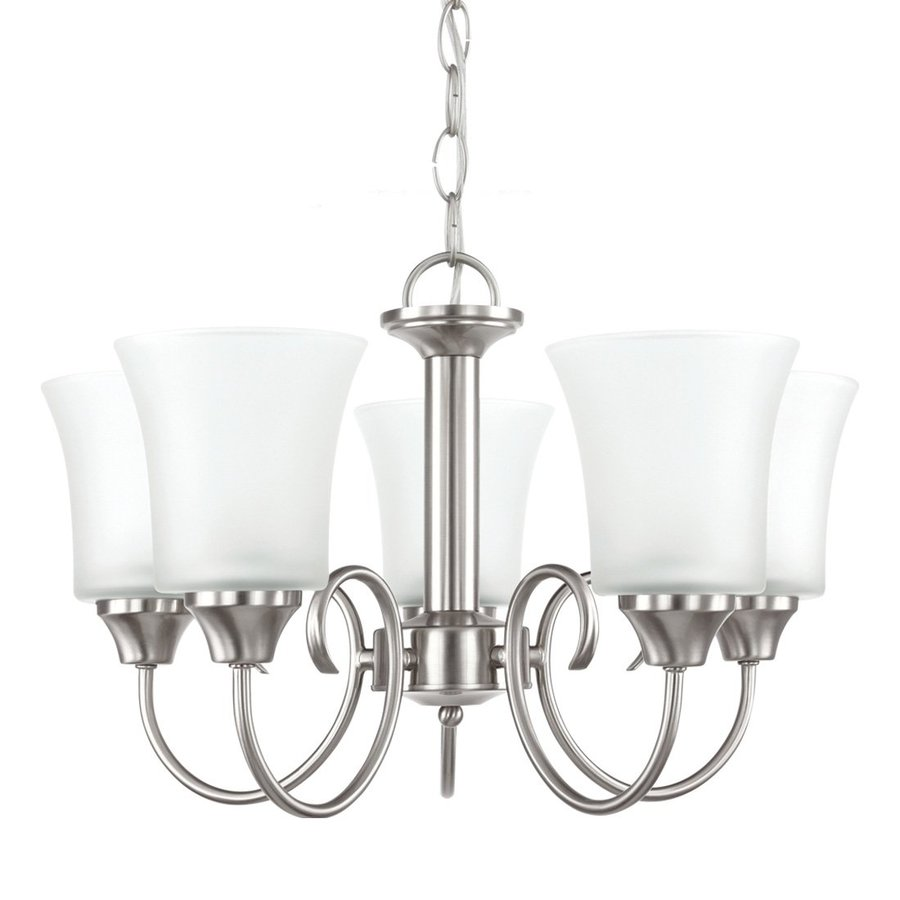 Sea Gull Lighting Holman 19.75-in 5-Light Brushed Nickel Vintage Etched Glass Shaded Chandelier