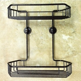 No Drilling Required 11 In H Adhesive Solid Brass Hanging Shower Caddy