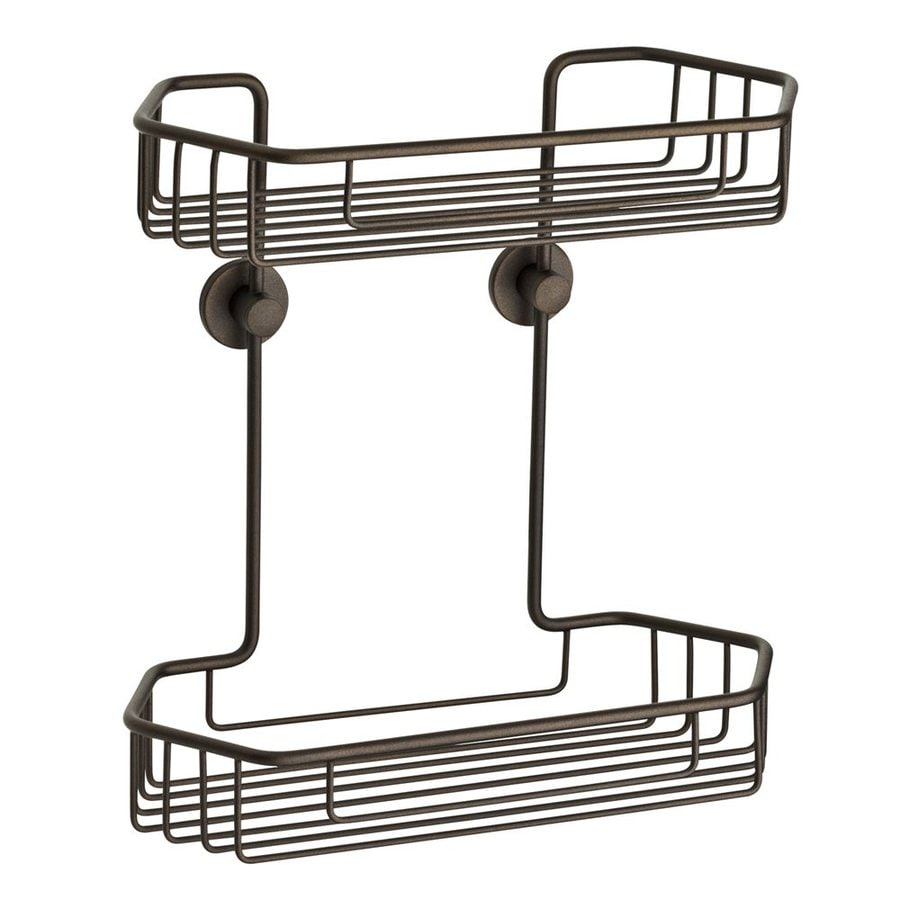 No Drilling Required 11.5-in H Adhesive Solid Brass Hanging Shower Caddy