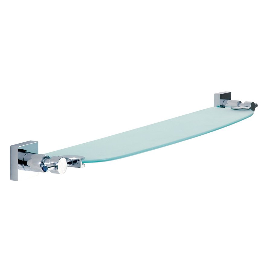 No Drilling Required Hukk Chrome Glass Bathroom Shelf