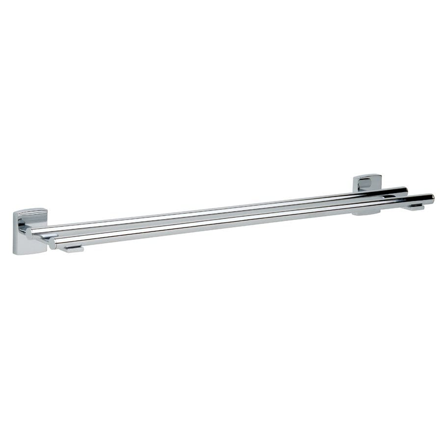 No Drilling Required Klaam Chrome Double Towel Bar (Common: 25-in; Actual: 25.35-in)