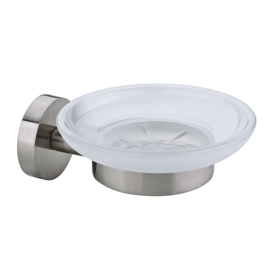 No Drilling Required Moon Satin Nickel-Plated Zinc Soap Dish
