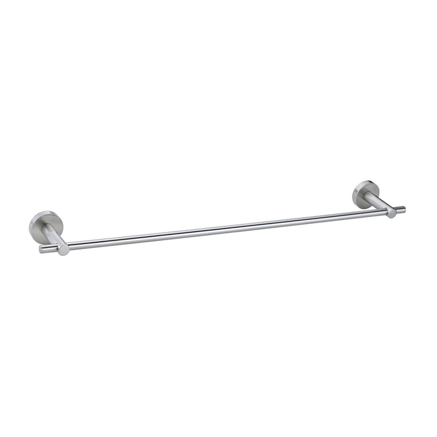 No Drilling Required Moon Satin Nickel Single Towel Bar (Common: 24-in; Actual: 24-in)