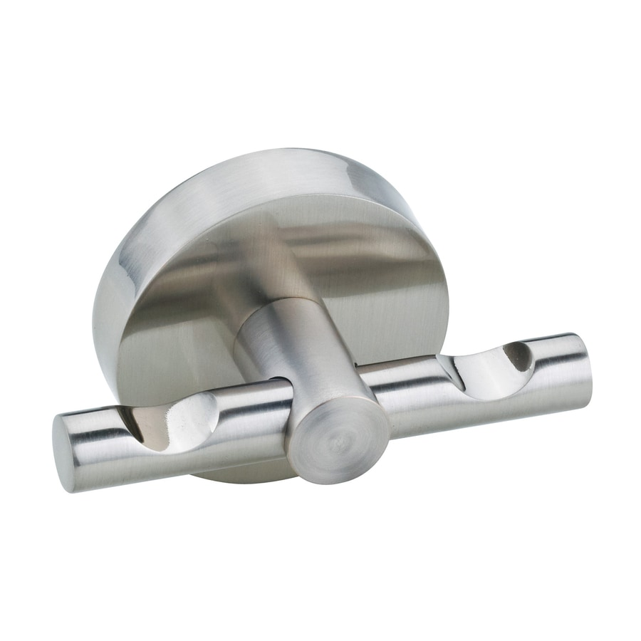 No Drilling Required Moon 2-Hook Satin Nickel Towel Hook