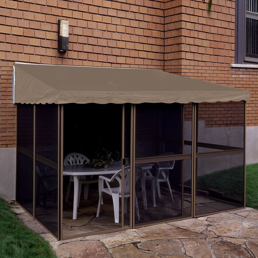 Shop gazebo penguin sand taupe metal rectangle screened for Add a room mural gazebo