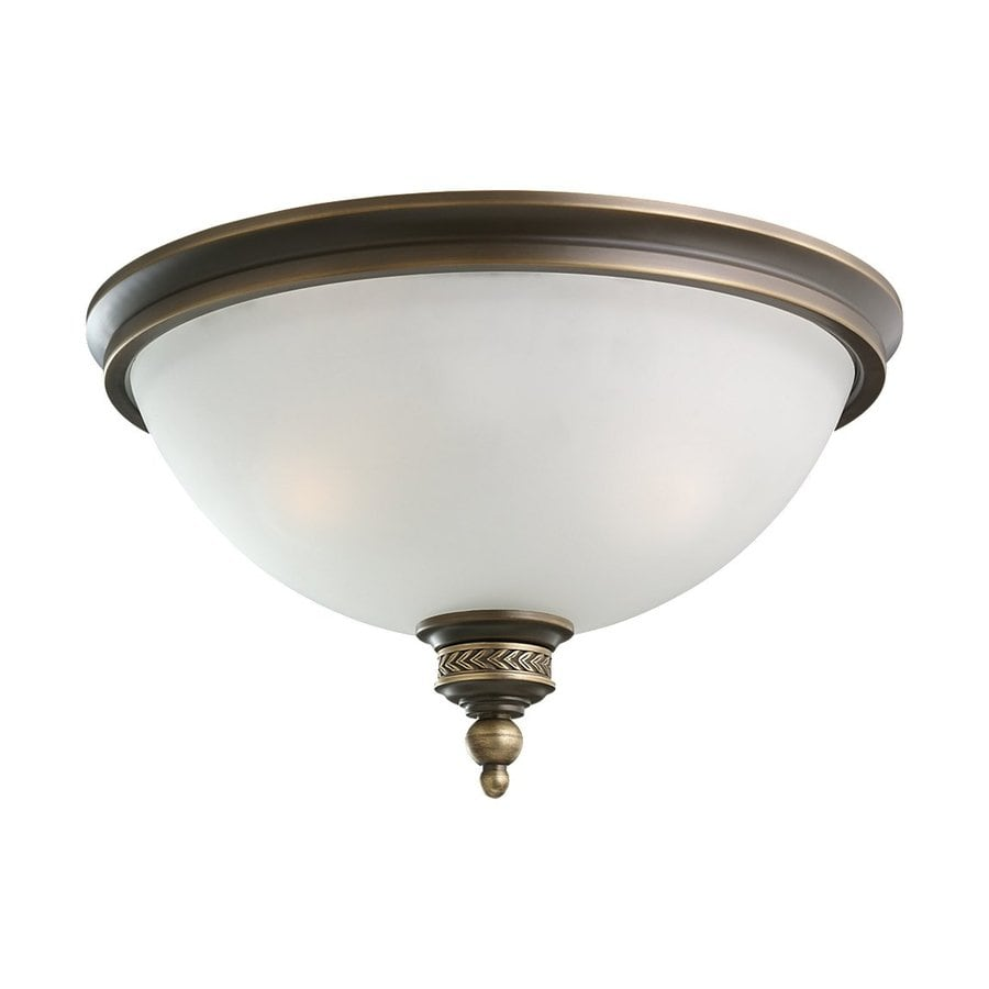 Sea Gull Lighting Laurel Leaf 16-in W Estate Bronze Flush Mount Light