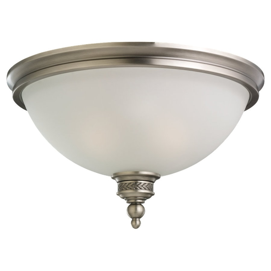 Sea Gull Lighting Laurel Leaf 16-in W Antique brushed nickel Flush Mount Light