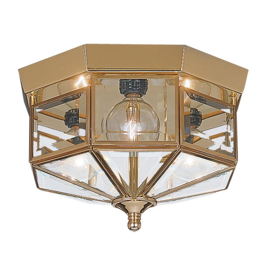 Sea Gull Lighting Grandover 9-in W Polished Brass Flush Mount Light