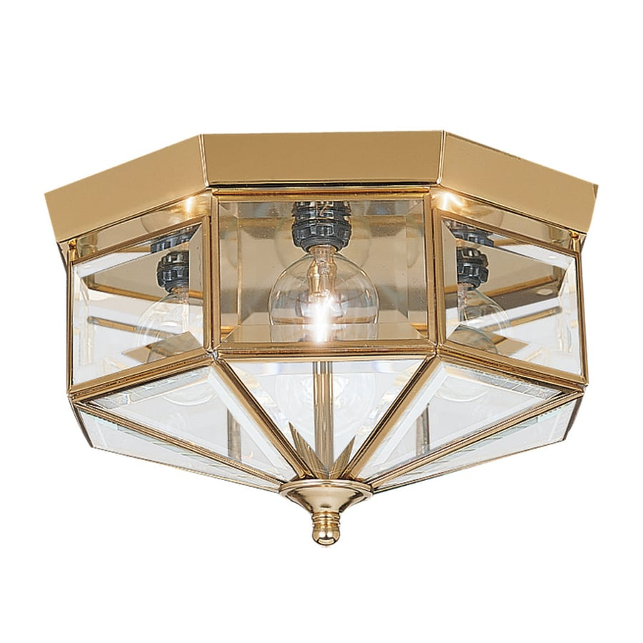Sea Gull Lighting Grandover 11-in W Polished Brass Ceiling Flush Mount Light