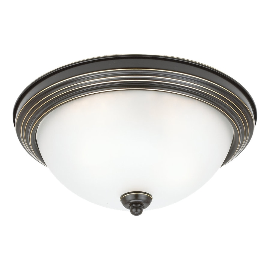 Sea Gull Lighting Ceiling Flush Mount 12.5-in W Heirloom bronze Flush Mount Light