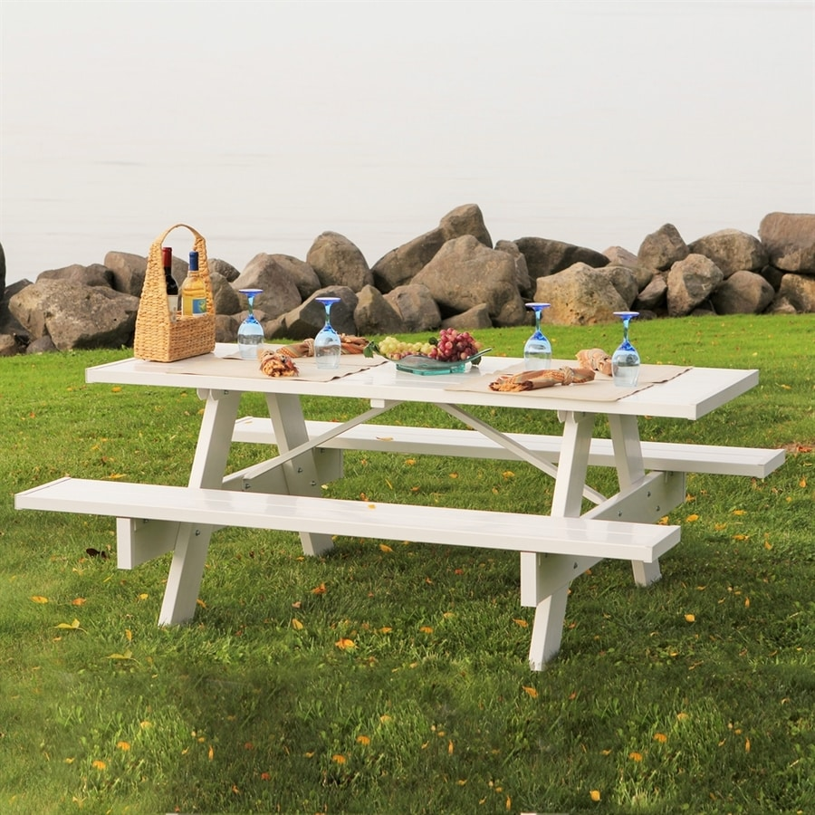 Dura-Trel 8-ft White Rectangle Picnic Table